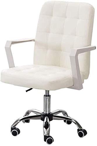 Sillas de Oficina Muebles Medium Back Smily Cuero Sillón Ajustable Escritorio de computadora, Giratorio con Patas de Acero para Oficina en casa
