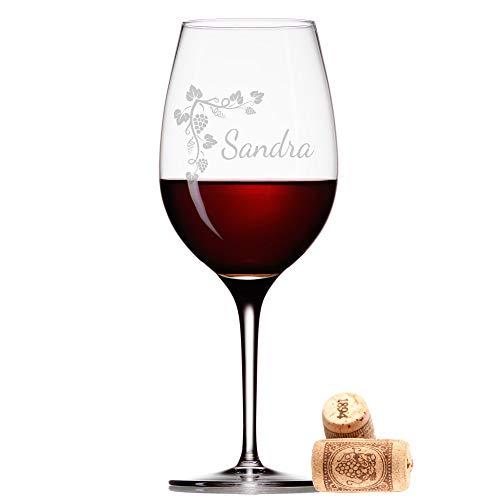 FORYOU24 Leonardo Weinglas mit Gravur des Namens und Motiv Weinranke Wein-Glas graviert