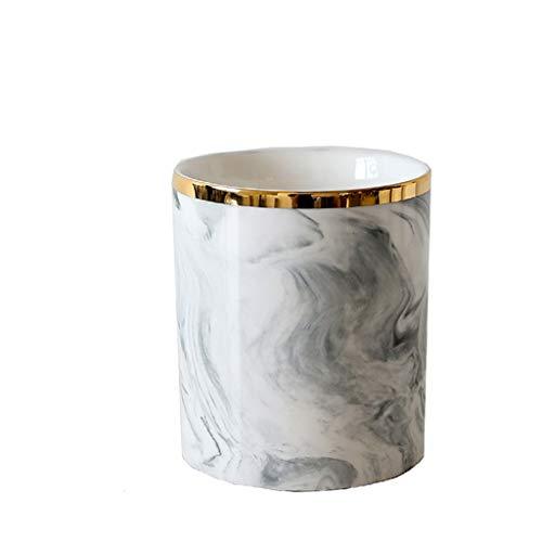 Pennenhouder opbergemmer van keramiek marmer opbergbuisje voor make-upkwasten, goudkleurige zijde vaas