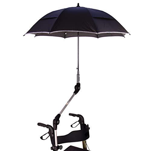 Orig. MPB® Rollatorschirm ST 22/25 SR, mit 2 Verstellgelenken, für Standard Rollatoren mit 22 mm oder 25 mm Rundrohr, schwarz-reflektierender Mikrofaser-Schirm mit