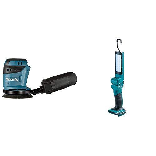 Makita DBO180Y1J Lijadora excéntrica 18 V, Negro, Azul + Makita DEADML801 luz de trabajo - luces de trabajo