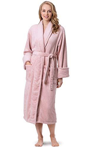 PajamaGram Women's Robes Ultra Soft - Women's Fleece Bathrobes, Pink, M/L, 8-14