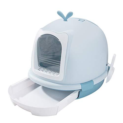 Jlxl huisdier kat nestbak, grote ruimte met capuchon gesloten deodorant lade toilettas plastic transparante klep deur met schep