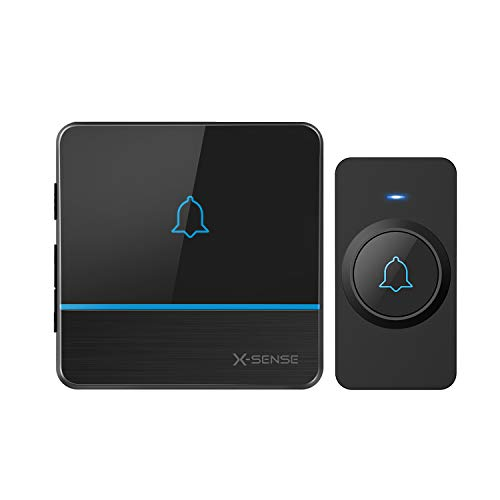 X-Sense Wireless Doorbell, Waterproof Door Bell Kit Operating at Over 2,000 Feet Wireless Range, 56 Melodies & 5 Volume Levels, CD Quality Sound and LED Flash, Black