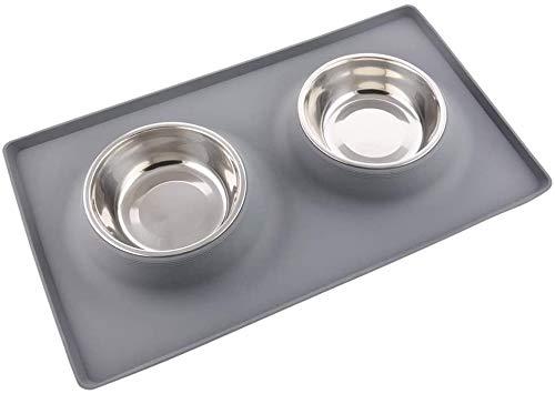 MIHOO Futternapf Fressnapf Hunde Katzen, 2 x 400ml Edelstahl Hund Schüssel Hundenapf Katzenapf mit Rutschfesten Silikon Tablett Matte, Haustier Lebensmittel Wassernapf (Grau)