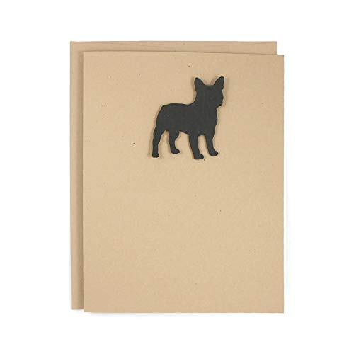 French Bulldog Single Blank Greeting Card   Handmade Frenchie Notecard   Black Dog Greeting Card   Kraft Brown with Matching Envelope