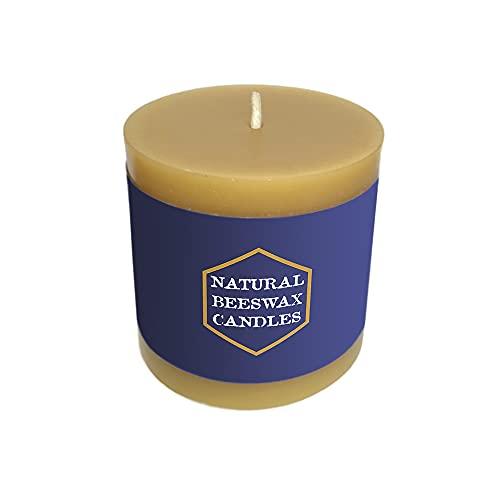 Natural Beeswax Pillar Candle - 100% Pure Beeswax (3'x 3')