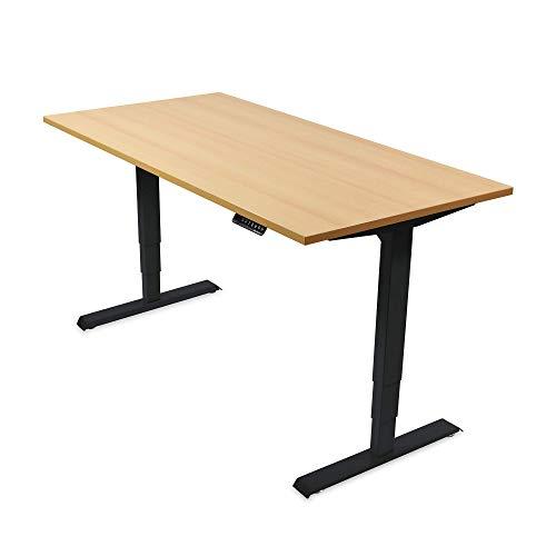 Ergotopia® Elektrisch höhenverstellbarer Schreibtisch | 5 Jahre Garantie | Ergonomischer Steh-Sitz Tisch mit Memory Funktion | Beugt Rückenschmerzen vor & Macht produktiver (120x80, Buche, S)