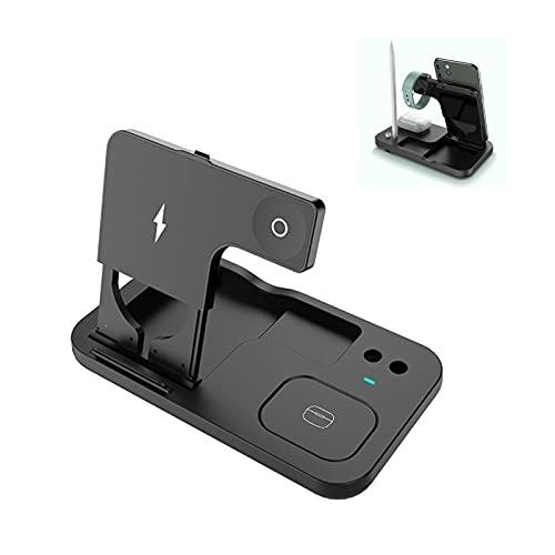 Cargador inalámbrico plegable de 15W, estación de carga inalámbrica rápida 4 en 1, compatible con iPhone 11/8/XR/XS AirPods iWatch Apple Pencil Galaxy S10/S9/S8/Note10/9 (sin adaptador) (Color: Negro)