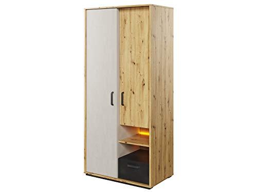 Furniture24 Kleiderschrank Qubic QB-03, Schrank, 2 Türiger Jugendzimmerschrank mit Kleiderstange, Schubladen, Einlegeboden und LED Beleuchtung