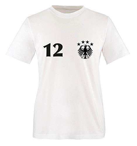 Trikot - Deutschland - 12 - Kinder T-Shirt - Weiss/Schwarz-Rot-Gelb Gr. 122-128