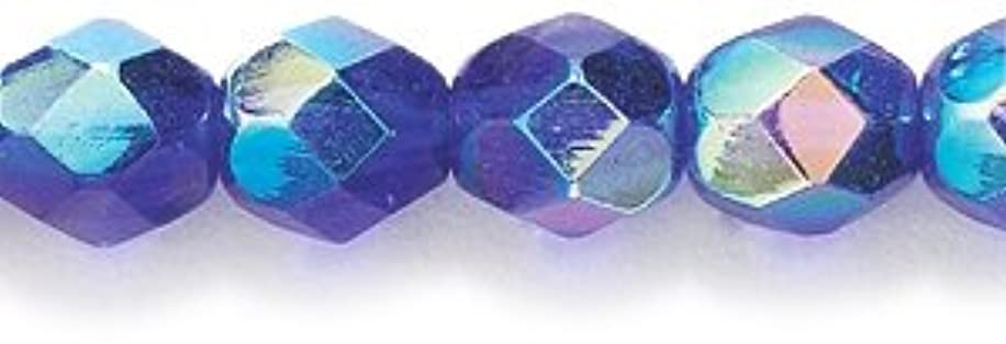 Preciosa Czech Fire 6 mm Faceted Round Polished Glass Bead, Cobalt Aurora Borealis, 150-Pack
