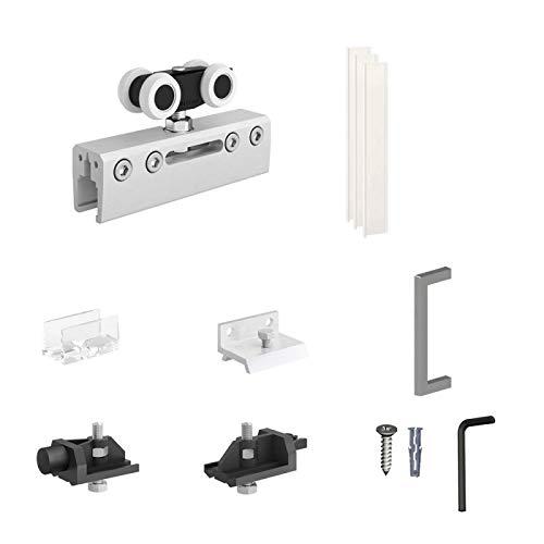 Schiebetürbeschlag SLID'UP 190 GLAS Ergänzungsset für 1 Glastür bis 100 kg, für Durchgangstüren, Glastüren