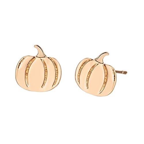 WLLAY Mini Pumpkin Earrings for Women Simple Halloween Pumpkin Ear Stud Earring Vegetable Jewelry (Gold)