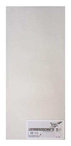 folia 77085 - Laternenzuschnitte, Transparentpapier, ca. 22 x 51 cm, 25 Bogen, weiß - ideal zur Gestaltung einer individuellen Laterne
