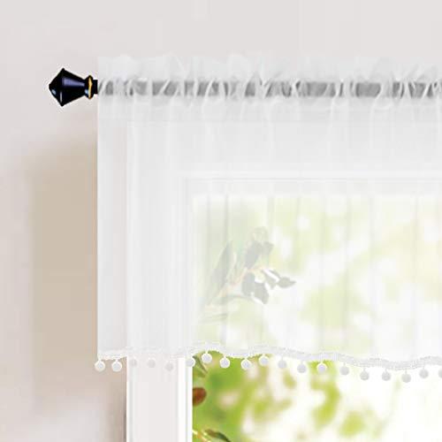Naturoom Sheer Valence for Windows - Pom Pom Short Window Valance Tasseled Semi-Sheer Curtains - Home Decorative Blinds Light Filter Curtains for Living Room, Set of 2 Panels(54 x 18 inch, White)