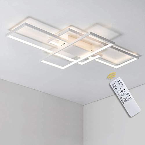 GaoHX LED Piazza luce di soffitto dimmerabile telecomando Soggiorno Lampada da soffitto lampadario chic moderno design Bianco-dimmerabile 90 * 50cm / 80W