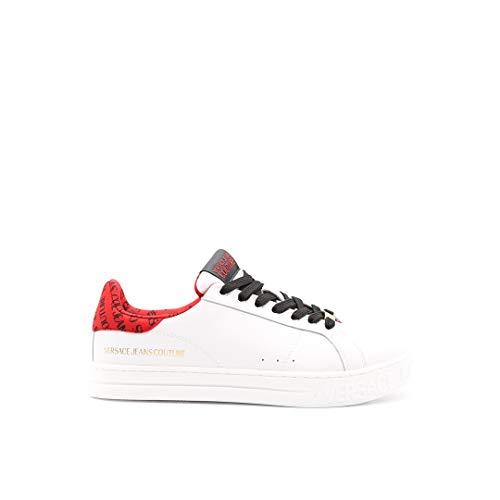 VERSACE JEANS COUTURE E0YWASK3 - Zapatillas de baloncesto de piel blanca con detalles de letras rojas Blanco Size: 40 EU