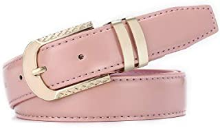 Wide Belt Drop Oil Alloy Buckle Korean Version Men's and Women's Belt Bead Line Car Line (Color : Pink)