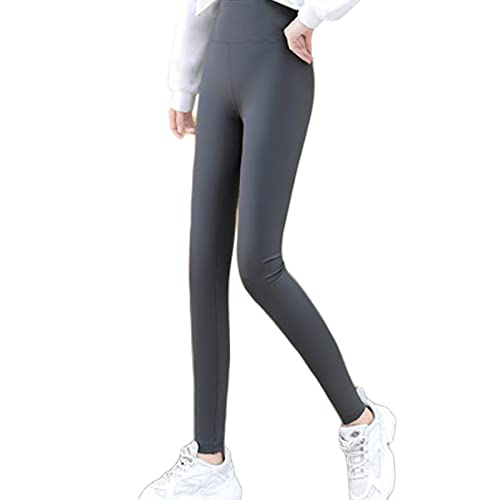 OeltWsoif Mujeres Aptitud Cintura Alta Pantalones De Yoga,Suave Control De La Barriga Entrenamiento Legging para Correr Ciclismo Tramo De 4 Vías-Gris XL