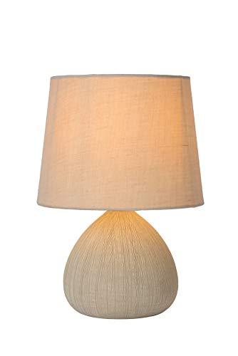 Lucide Ramzi de lámpara de mesa de color beige, cerámica, E14, 40W, Cream, 18x 18x 26cm