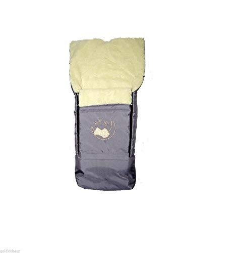 Lammwolle Winter-Fußsack Sack Fußsack Hörnchen BabyFußsack mit Reißverschluss Schlitten Kinderwagen Babyschale 40 x 90/107 cm (Hellgrau)