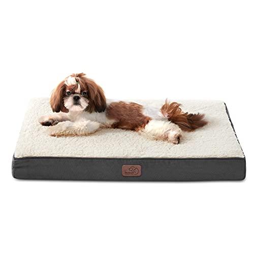 Bedsure Cama Perro Pequeño Ortopédica - Colchón Perro Verano Lavable M, Desenfundable con Espuma De Caja De Huevos, 76x50x7.6 cm