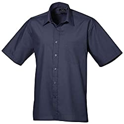 Premier Short sleeve poplin shirt - Blank Plain Shirts Navy 17.5 PR202. Authentic Product. 123t is an official supplier of this item. 14.5 / 34 / 15 / 36 / 15.5 / 38 / 16 / 40 / 16.5 / 42 / 17 / 44 / 17.5 / 46 / 1850 / 18.5 / 52 / 19 A short sleeve w...