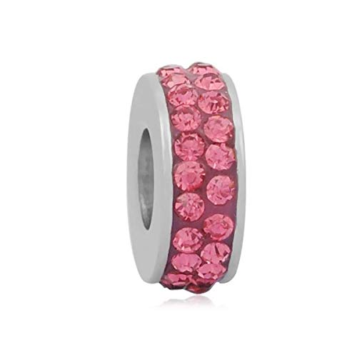 Buckets of Beads Stainless Steel Pink Rhinestones Charm Bead for Charm Bracelets