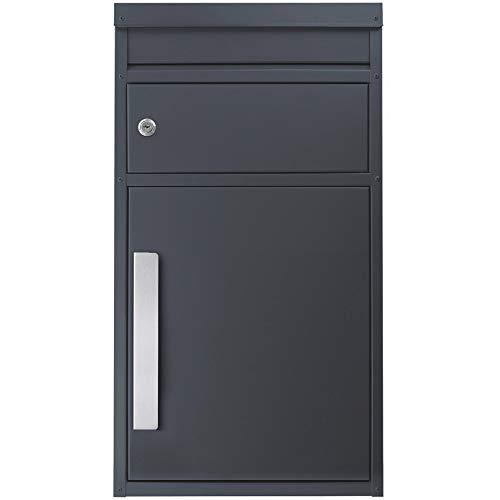 Paket-Briefkasten anthrazit-grau (RAL 7016) SafePost 45M Design-Paketkasten modern für alle Paketdienste Paketbox mit Briefkasten Standbriefkasten