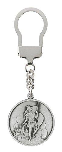Heiliger Florian Schlüsselanhänger 3,5 cm, 999-feinversilbert, gesegnet und geweiht. Schutzpatron der Feuerwehr