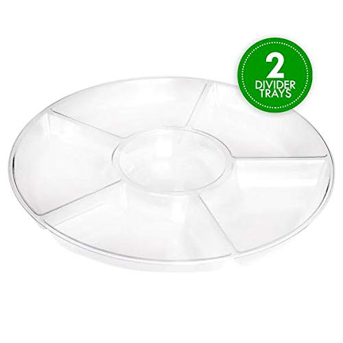 Plasticpro 6 Sectional Round Plastic Serving Tray/Platters Clear Pack of 2