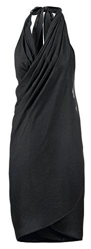 Maui Wowie Strandbekleidung Wickelkleid Schlichter Pareo Strand-Kleid Rock Bademode Schwarz, Größe:OneSize
