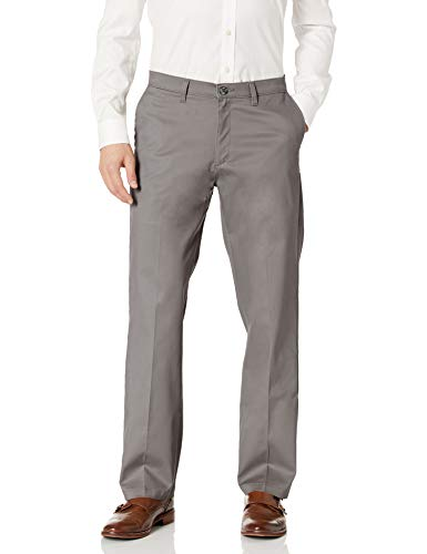 LEE Men's Total Freedom Stretch Relaxed Fit Flat Front Pant, Gray, 42W x 32L