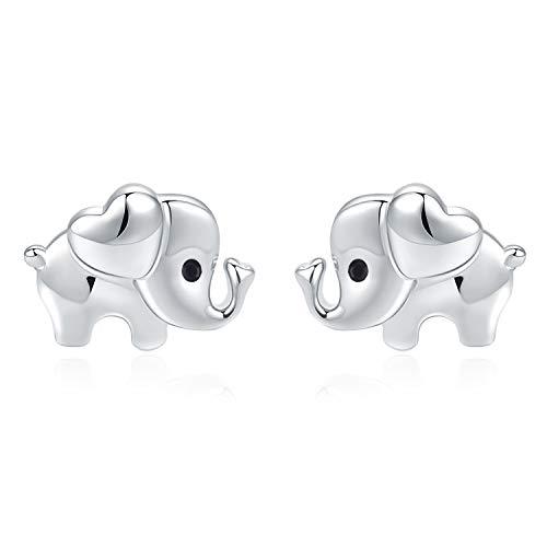 925 Sterling Silver Elephant Earrings for Girls-Hypoallergenic Stud Earrings Kids Cute Elephants Jewellery Mothers Day Birthday Gifts for Women