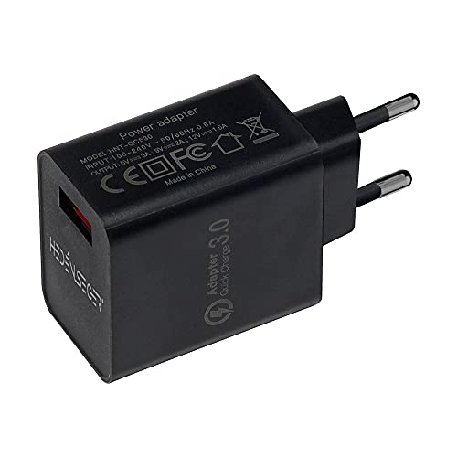 HedenSeger Quick Charge 3.0-18W QC Chargeur Mural USB QC 3.0-Adapter Bloc de Chargeur Rapide Durable-Compatible avec Samsung S8/S9/S10-Note 8/7-Huawei-HTC-LG (Noir)