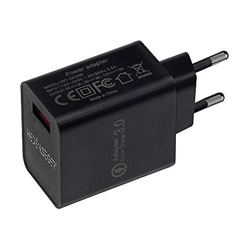 HedenSeger Quick Charge 3.0-18W QC Cargador de Pared USB QC 3.0-Adapter Cargador Rápido y Duradero-Compatible con Samsung S8 / S9 / S10-Note 8/7-Huawei-HTC-LG (Negro)