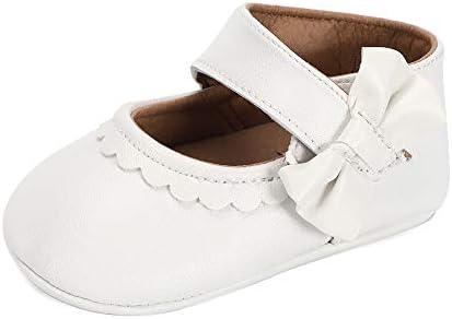 Lacofia Zapatos de Bautizo Antideslizantes Primeros Pasos para bebé niñas con Suela Bailarinas bebé niña Blanco 3-6 Meses