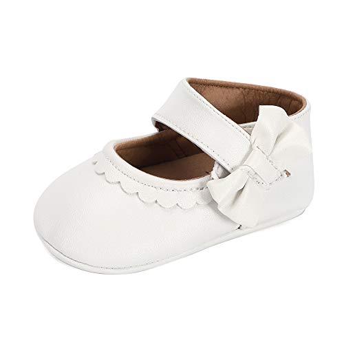 Lacofia Zapatos de Bautizo Antideslizantes Primeros Pasos para bebé niñas con Suela Bailarinas bebé niña Blanco 6-12 Meses