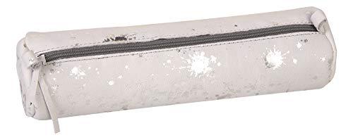 Clairefontaine 400061C Schlampermäppchen rund (Cosmicuir aus Lammwildleder Durchmesser 5,5x22 cm) 1 Stück bedruckt silber
