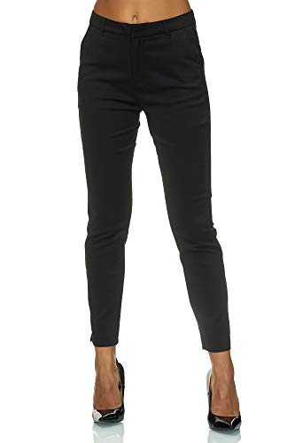 Elara Pantaloni da Donna Chino Chic Slim Fit Chunkyrayan Nero VS19031-1A Black-36 (S)