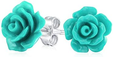 Romantic Delicate Floral 3D Craved Teal Aqua Green Rose Flower Stud Earrings For Women Teen product image
