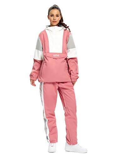 SNBOCON Womens Two Piece Snowsuits Ski Half Zip Jackets and Pants Set Winter Snowboard (M,Pink)