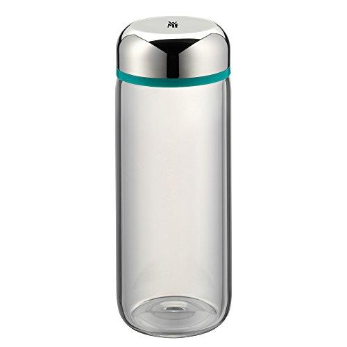 WMF Basic Trinkflasche, 500 ml, Höhe 19 cm, Glasflasche für Warm- und Kaltgetränke, Glas, Cromargan Edelstahl, in Geschenkkarton, türkis
