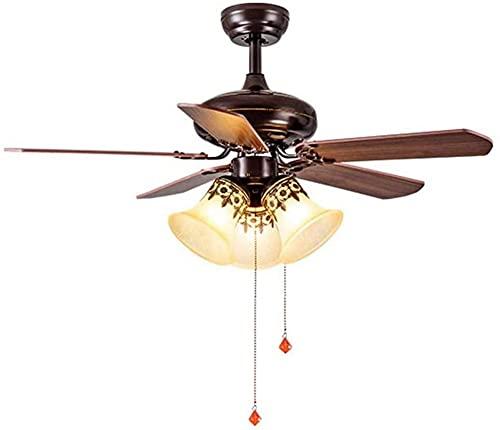 Ventilador de techo con luz y control remoto Lámpara de techo de madera maciza Ventiladores industriales antiguos Luces de techo con interruptor de cordón para sala de estar Iluminación del dormitori
