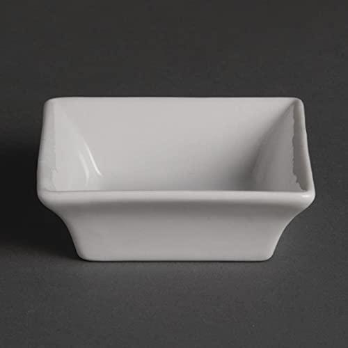 Olympia Whiteware Plats Carrés Miniatures en Porcelaine Blanche 75mm - Bords Roulés Résistants aux Éclats - Va au Lave Vaisselle - Paquet de 12