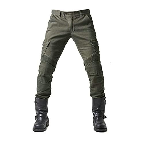 Motorrad-Hose, Schutzhose, Herren Motorrad-Jeans aus atmungsaktivem, verschleißfestem Kevlar mit 2 Paar schützenden Hüft- und Kniepolstern, Jeans (Armeegrün, L)