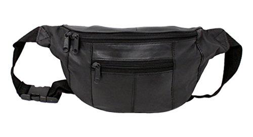 RAS Echtes Schwarzes Leder Qualität Taillenbeutel Reisetasche Verstellbarer Gürtel - 1013