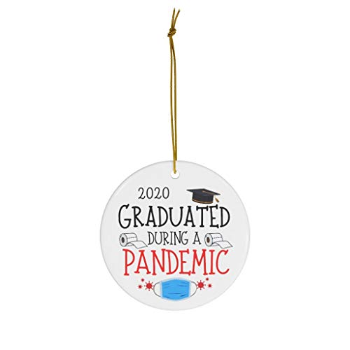 Lplpol 3 Inch Graduated During A Pandemic Ornament Graduation Ornament Covid Christmas 2020 Grad Gift Christmas Tree Holiday Ornament