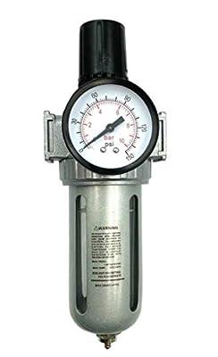 "BRUFER AFR80 Air Filter Regulator Combo 1/2"" NPT with Gauge and Bracket (T-Handle), 5 Micron Element, Poly Bowl, Manual Drain - Compressor Air Filter Air Pressure Regulator by BRUFER"